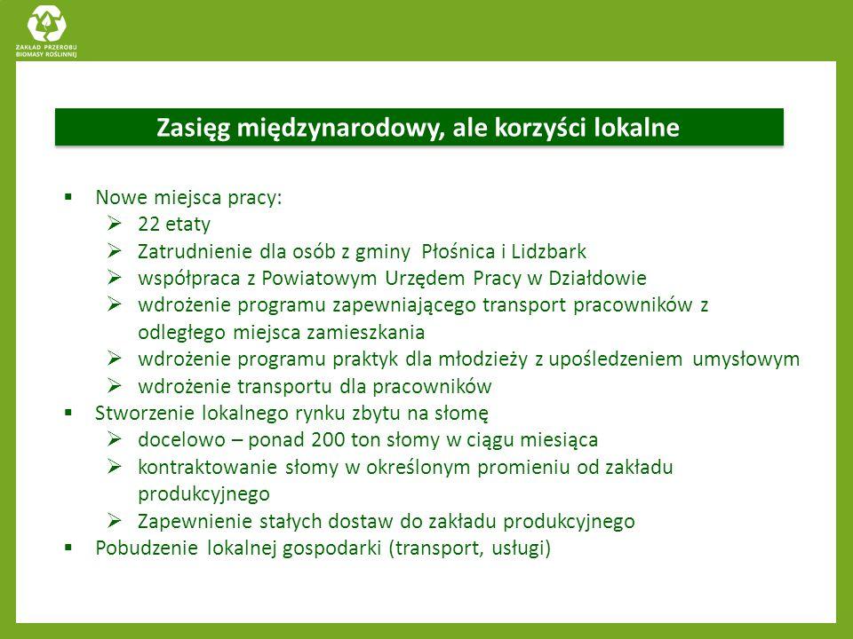 Zasięg międzynarodowy, ale korzyści lokalne  Nowe miejsca pracy:  22 etaty  Zatrudnienie dla osób z gminy Płośnica i Lidzbark  współpraca z Powiat