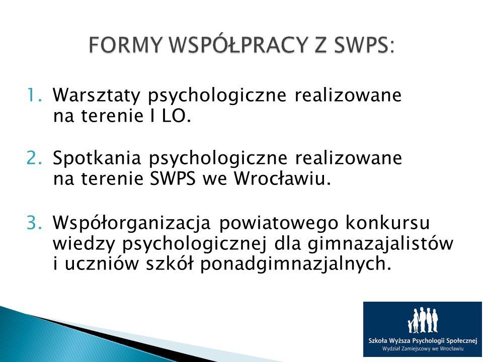 1.Warsztaty psychologiczne realizowane na terenie I LO.