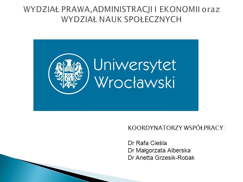 KOORDYNATORZY WSPÓŁPRACY: Dr Rafa Cieśla Dr Małgorzata Alberska Dr Anetta Grzesik-Robak