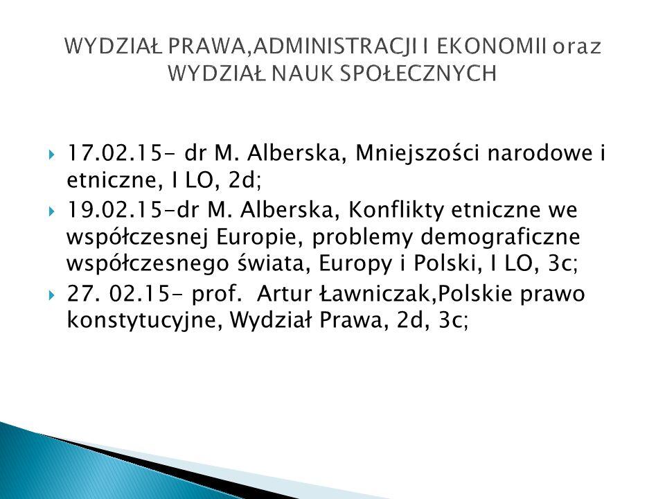  17.02.15- dr M. Alberska, Mniejszości narodowe i etniczne, I LO, 2d;  19.02.15-dr M.