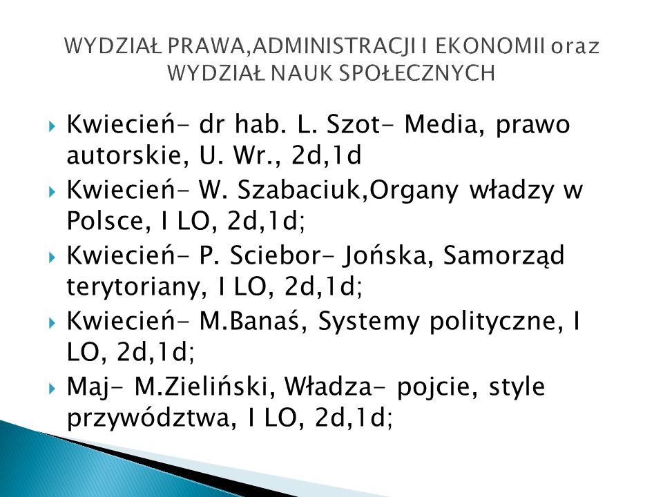  Kwiecień- dr hab. L. Szot- Media, prawo autorskie, U.