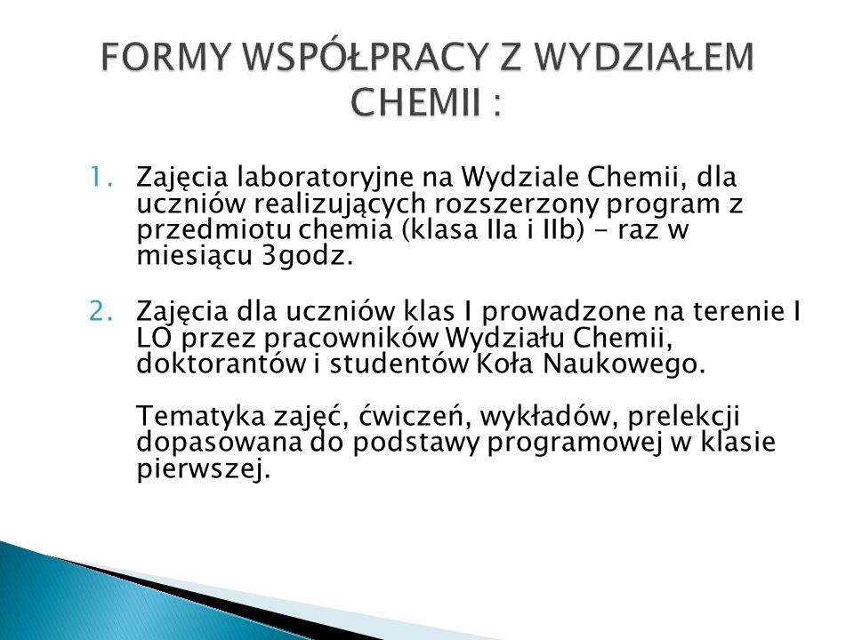 1.Zajęcia laboratoryjne na Wydziale Chemii, dla uczniów realizujących rozszerzony program z przedmiotu chemia (klasa IIa i IIb) - raz w miesiącu 3godz.