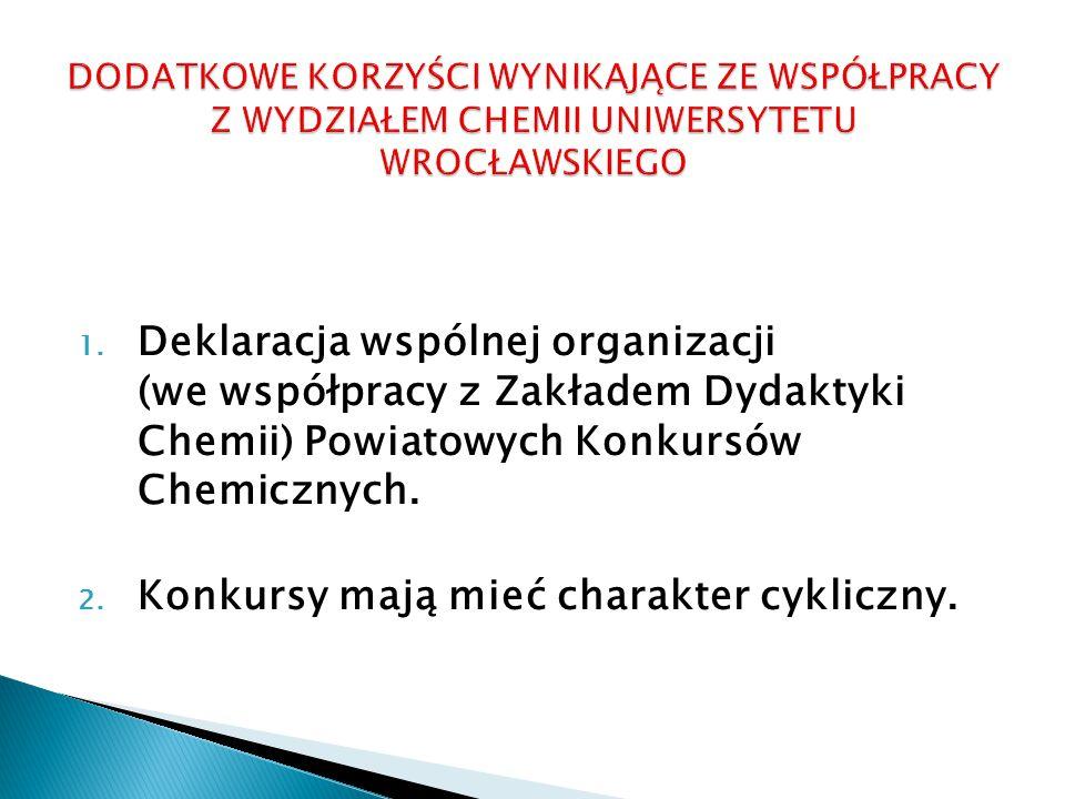 1. Deklaracja wspólnej organizacji (we współpracy z Zakładem Dydaktyki Chemii) Powiatowych Konkursów Chemicznych. 2. Konkursy mają mieć charakter cykl