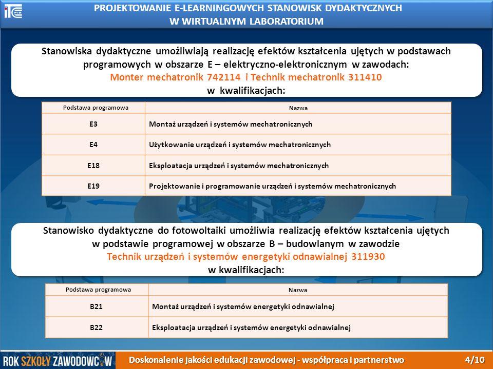 PROJEKTOWANIE E-LEARNINGOWYCH STANOWISK DYDAKTYCZNYCH W WIRTUALNYM LABORATORIUM Podstawa programowaNazwa E3Montaż urządzeń i systemów mechatronicznych E4Użytkowanie urządzeń i systemów mechatronicznych E18Eksploatacja urządzeń i systemów mechatronicznych E19Projektowanie i programowanie urządzeń i systemów mechatronicznych Stanowiska dydaktyczne umożliwiają realizację efektów kształcenia ujętych w podstawach programowych w obszarze E – elektryczno-elektronicznym w zawodach: Monter mechatronik 742114 i Technik mechatronik 311410 w kwalifikacjach: Stanowiska dydaktyczne umożliwiają realizację efektów kształcenia ujętych w podstawach programowych w obszarze E – elektryczno-elektronicznym w zawodach: Monter mechatronik 742114 i Technik mechatronik 311410 w kwalifikacjach: Stanowisko dydaktyczne do fotowoltaiki umożliwia realizację efektów kształcenia ujętych w podstawie programowej w obszarze B – budowlanym w zawodzie Technik urządzeń i systemów energetyki odnawialnej 311930 w kwalifikacjach: Stanowisko dydaktyczne do fotowoltaiki umożliwia realizację efektów kształcenia ujętych w podstawie programowej w obszarze B – budowlanym w zawodzie Technik urządzeń i systemów energetyki odnawialnej 311930 w kwalifikacjach: Podstawa programowaNazwa B21Montaż urządzeń i systemów energetyki odnawialnej B22Eksploatacja urządzeń i systemów energetyki odnawialnej Doskonalenie jakości edukacji zawodowej - współpraca i partnerstwo 4/10