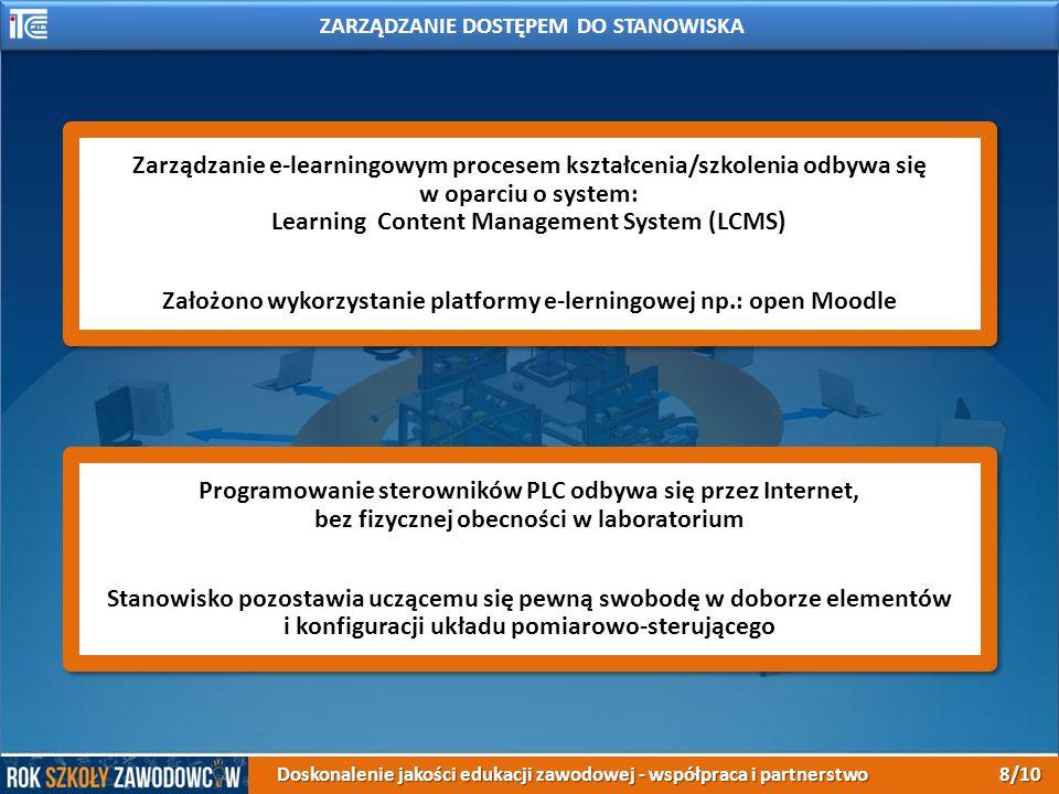 Zarządzanie e-learningowym procesem kształcenia/szkolenia odbywa się w oparciu o system: Learning Content Management System (LCMS) Założono wykorzystanie platformy e-lerningowej np.: open Moodle Zarządzanie e-learningowym procesem kształcenia/szkolenia odbywa się w oparciu o system: Learning Content Management System (LCMS) Założono wykorzystanie platformy e-lerningowej np.: open Moodle Programowanie sterowników PLC odbywa się przez Internet, bez fizycznej obecności w laboratorium Stanowisko pozostawia uczącemu się pewną swobodę w doborze elementów i konfiguracji układu pomiarowo-sterującego Programowanie sterowników PLC odbywa się przez Internet, bez fizycznej obecności w laboratorium Stanowisko pozostawia uczącemu się pewną swobodę w doborze elementów i konfiguracji układu pomiarowo-sterującego ZARZĄDZANIE DOSTĘPEM DO STANOWISKA Doskonalenie jakości edukacji zawodowej - współpraca i partnerstwo 8/10