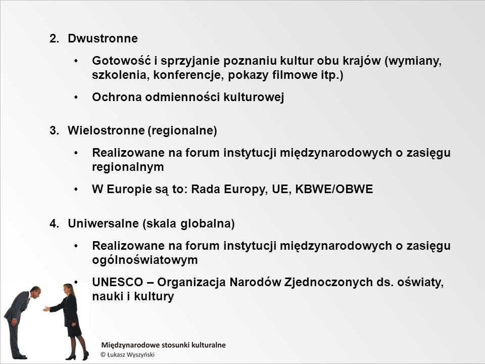 2.Dwustronne Gotowość i sprzyjanie poznaniu kultur obu krajów (wymiany, szkolenia, konferencje, pokazy filmowe itp.) Ochrona odmienności kulturowej 3.Wielostronne (regionalne) Realizowane na forum instytucji międzynarodowych o zasięgu regionalnym W Europie są to: Rada Europy, UE, KBWE/OBWE 4.Uniwersalne (skala globalna) Realizowane na forum instytucji międzynarodowych o zasięgu ogólnoświatowym UNESCO – Organizacja Narodów Zjednoczonych ds.