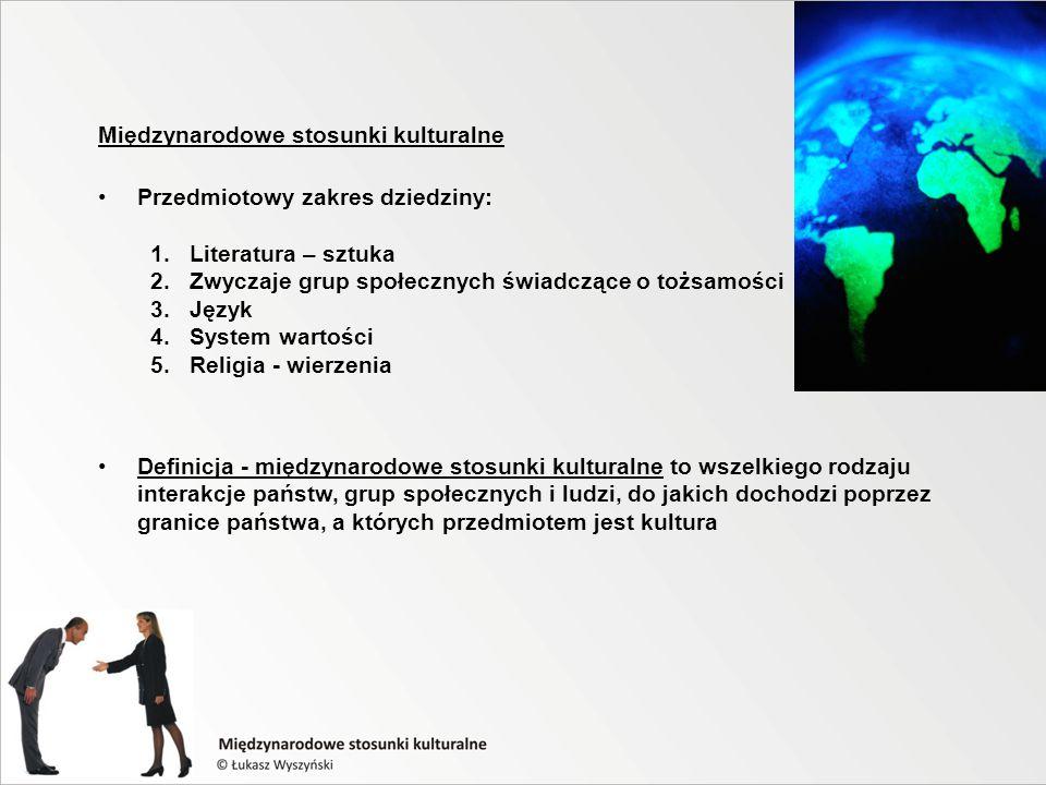 Międzynarodowe stosunki kulturalne Przedmiotowy zakres dziedziny: 1.Literatura – sztuka 2.Zwyczaje grup społecznych świadczące o tożsamości 3.Język 4.System wartości 5.Religia - wierzenia Definicja - międzynarodowe stosunki kulturalne to wszelkiego rodzaju interakcje państw, grup społecznych i ludzi, do jakich dochodzi poprzez granice państwa, a których przedmiotem jest kultura