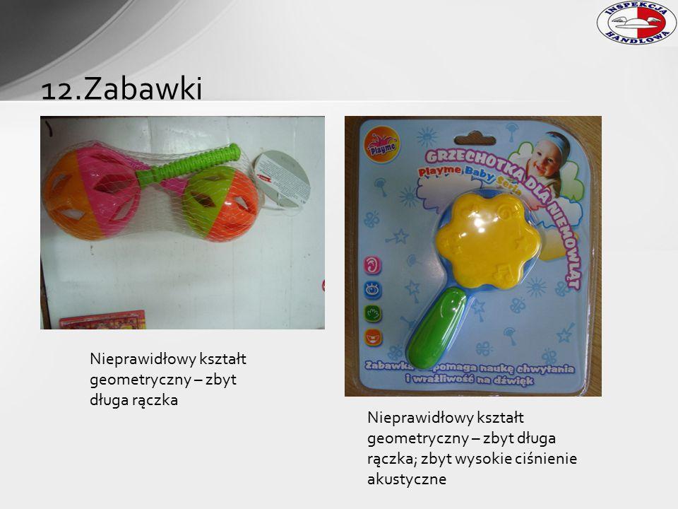 12.Zabawki Nieprawidłowy kształt geometryczny – zbyt długa rączka Nieprawidłowy kształt geometryczny – zbyt długa rączka; zbyt wysokie ciśnienie akust
