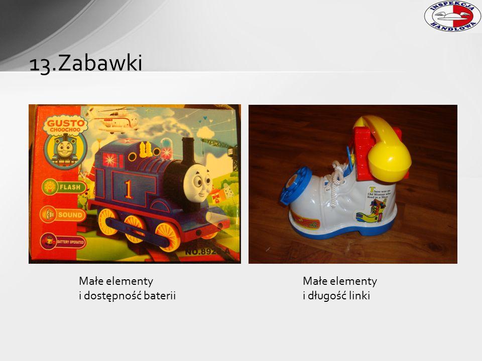 13.Zabawki Małe elementy i dostępność baterii Małe elementy i długość linki