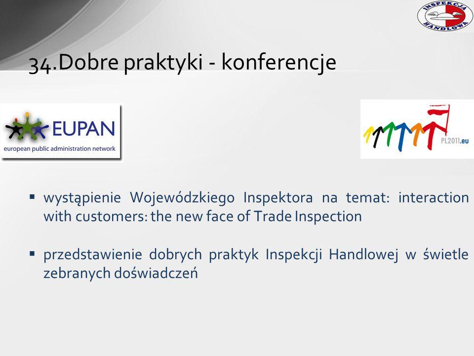  wystąpienie Wojewódzkiego Inspektora na temat: interaction with customers: the new face of Trade Inspection  przedstawienie dobrych praktyk Inspekc