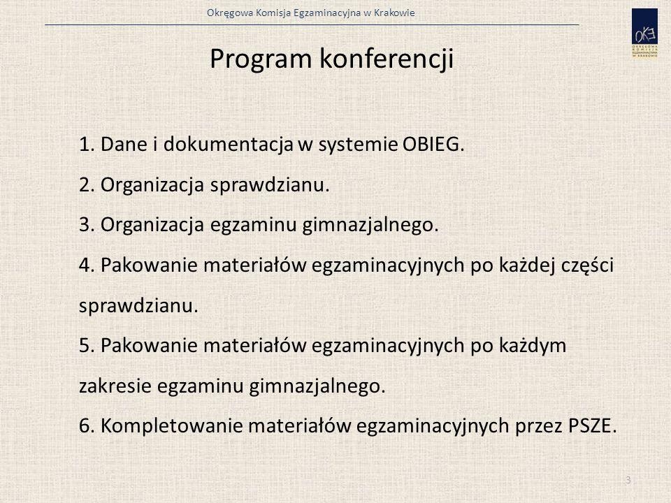 Program konferencji 1. Dane i dokumentacja w systemie OBIEG. 2. Organizacja sprawdzianu. 3. Organizacja egzaminu gimnazjalnego. 4. Pakowanie materiałó