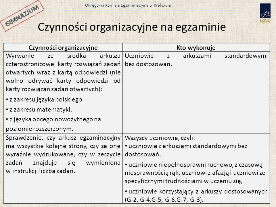 Okręgowa Komisja Egzaminacyjna w Krakowie 37 Czynności organizacyjneKto wykonuje Wyrwanie ze środka arkusza czterostronicowej karty rozwiązań zadań ot