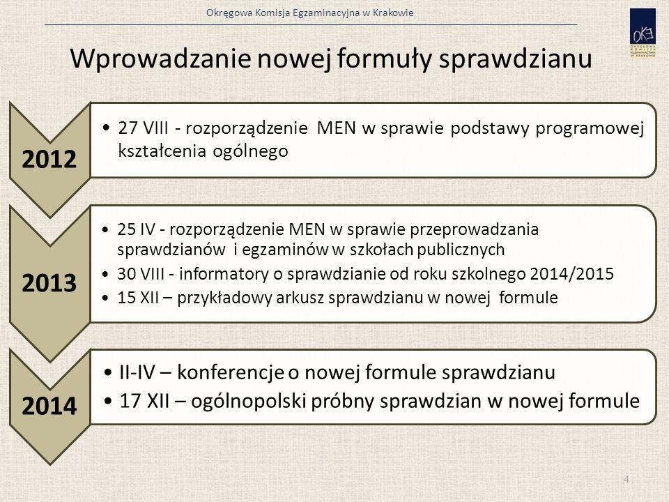Okręgowa Komisja Egzaminacyjna w Krakowie Wprowadzanie nowej formuły sprawdzianu 4 2012 27 VIII - rozporządzenie MEN w sprawie podstawy programowej ks