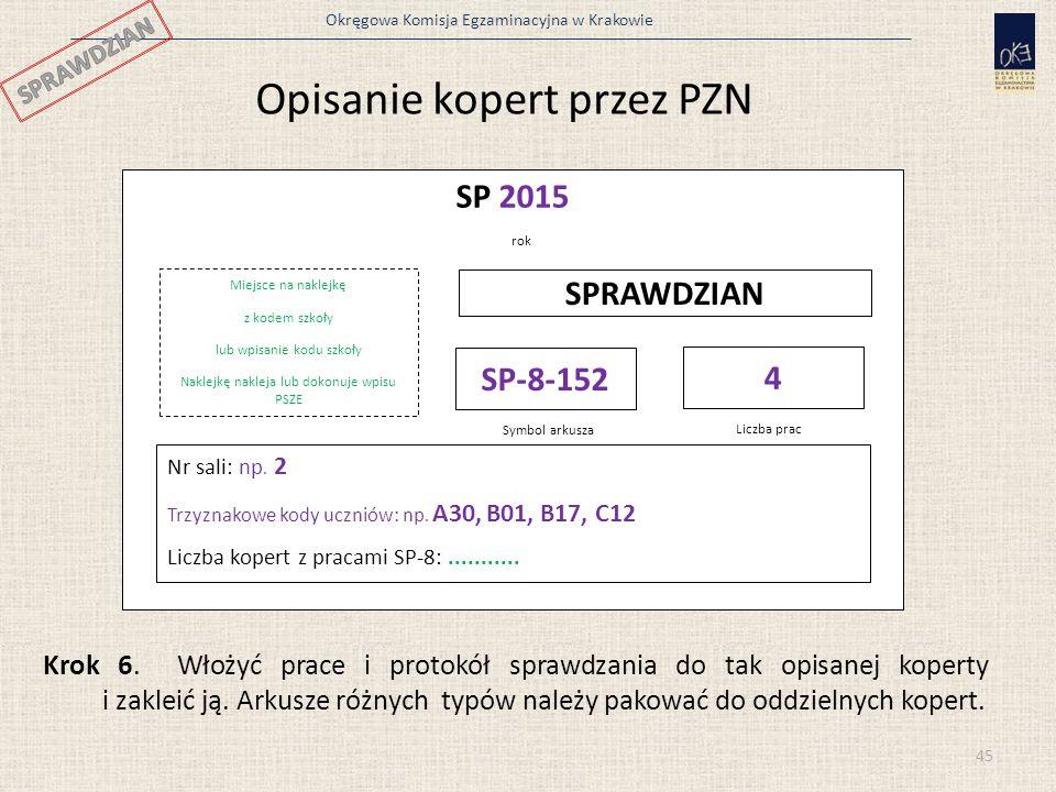 Okręgowa Komisja Egzaminacyjna w Krakowie SP 2015 rok Miejsce na naklejkę z kodem szkoły lub wpisanie kodu szkoły Naklejkę nakleja lub dokonuje wpisu