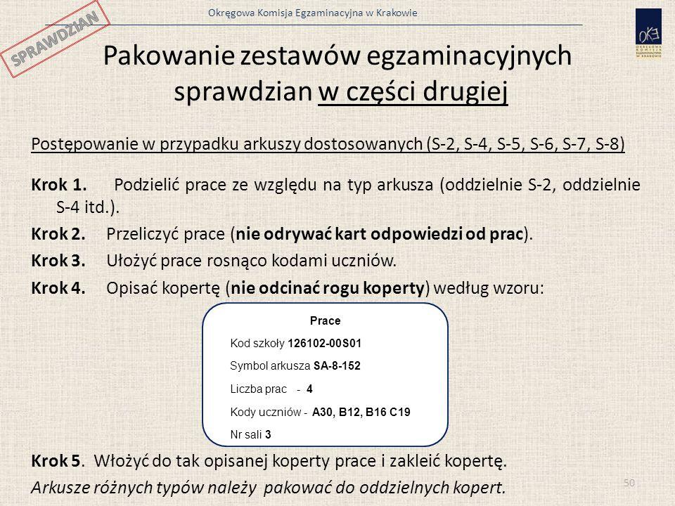 Okręgowa Komisja Egzaminacyjna w Krakowie Pakowanie zestawów egzaminacyjnych sprawdzian w części drugiej Postępowanie w przypadku arkuszy dostosowanyc