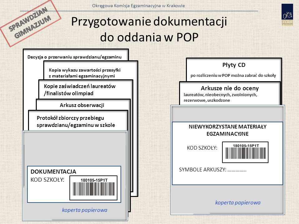 Okręgowa Komisja Egzaminacyjna w Krakowie Płyty CD po rozliczeniu w POP można zabrać do szkoły Decyzja o przerwaniu sprawdzianu/egzaminu Decyzja o prz