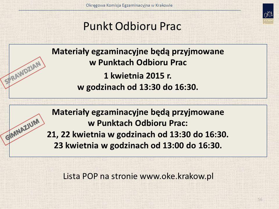 Okręgowa Komisja Egzaminacyjna w Krakowie 56 Punkt Odbioru Prac Materiały egzaminacyjne będą przyjmowane w Punktach Odbioru Prac 1 kwietnia 2015 r. w