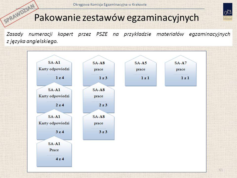 Okręgowa Komisja Egzaminacyjna w Krakowie 61 Pakowanie zestawów egzaminacyjnych Zasady numeracji kopert przez PSZE na przykładzie materiałów egzaminac