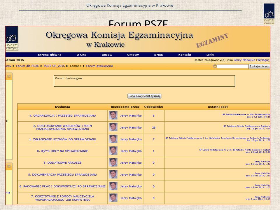 Okręgowa Komisja Egzaminacyjna w Krakowie Forum PSZE 82 Nazwa użytkownika i hasło to kod szkoły: np. 120304-05P06