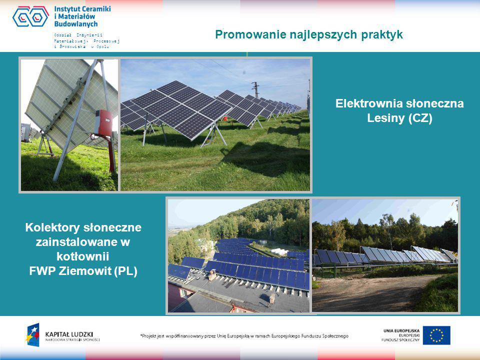Oddział Inżynierii Materiałowej, Procesowej i Środowiska w Opolu Promowanie najlepszych praktyk Elektrownia słoneczna Lesiny (CZ) Kolektory słoneczne zainstalowane w kotłownii FWP Ziemowit (PL)