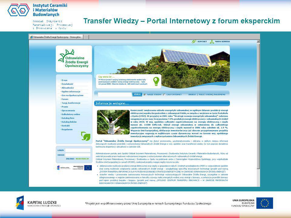 Oddział Inżynierii Materiałowej, Procesowej i Środowiska w Opolu Transfer Wiedzy – Portal Internetowy z forum eksperckim