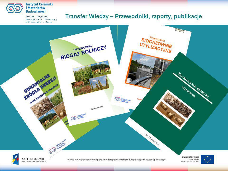 Oddział Inżynierii Materiałowej, Procesowej i Środowiska w Opolu Transfer Wiedzy – Przewodniki, raporty, publikacje