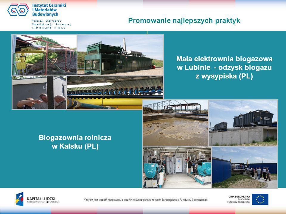 Oddział Inżynierii Materiałowej, Procesowej i Środowiska w Opolu Promowanie najlepszych praktyk Mała elektrownia biogazowa w Lubinie - odzysk biogazu z wysypiska (PL) Biogazownia rolnicza w Kalsku (PL)