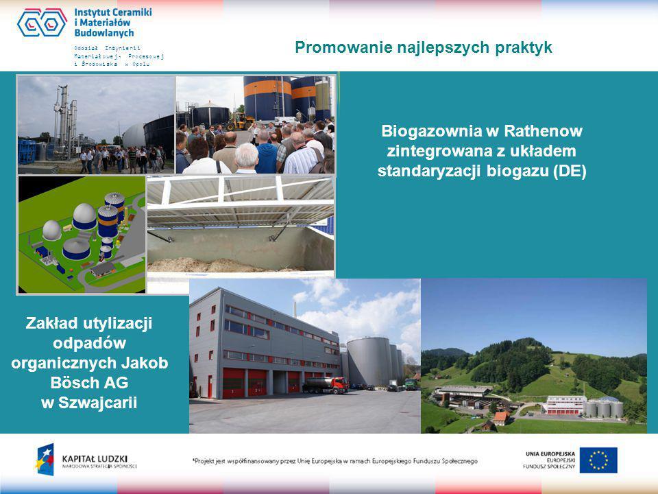 Oddział Inżynierii Materiałowej, Procesowej i Środowiska w Opolu Promowanie najlepszych praktyk Biogazownia w Rathenow zintegrowana z układem standaryzacji biogazu (DE) Zakład utylizacji odpadów organicznych Jakob Bösch AG w Szwajcarii