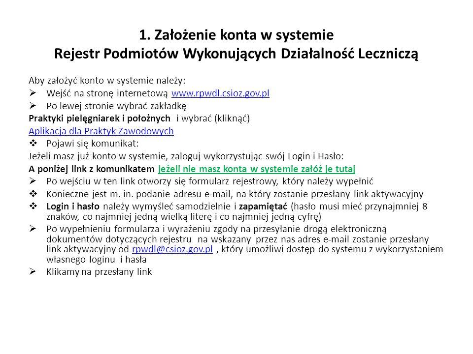 """2.Jeśli mamy już księgę rejestrową w systemie i chcemy dokonać zmian dotyczących wykonywanej działalności leczniczej:  Jeśli nie mamy konta w systemie zakładamy je (patrz poprzedni slajd)  Jeśli mamy konto w systemie – logujemy się poprzez zakładkę Praktyki pielęgniarek i położnych i wybranie (kliknięcie) Aplikacja dla Praktyk Zawodowych  Po lewej stronie klikamy w zakładkę """"Inne , a następnie w zakładkę """"Jak uzyskać uprawnienia do ksiąg rejestrowych? Uwaga ."""