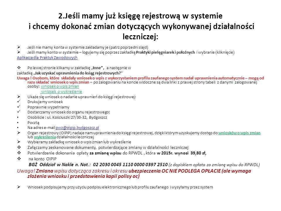 2.Jeśli mamy już księgę rejestrową w systemie i chcemy dokonać zmian dotyczących wykonywanej działalności leczniczej:  Jeśli nie mamy konta w systemi