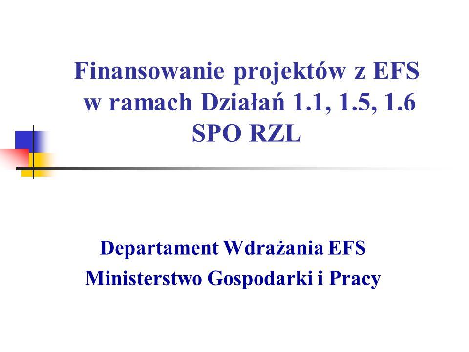 Finansowanie projektów z EFS w ramach Działań 1.1, 1.5, 1.6 SPO RZL Departament Wdrażania EFS Ministerstwo Gospodarki i Pracy