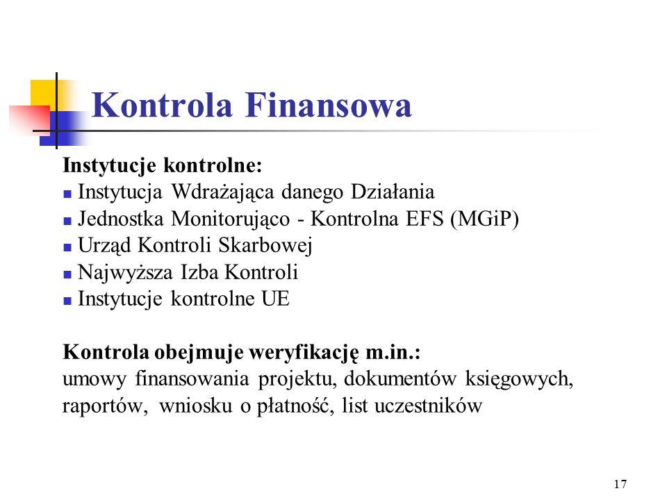 17 Kontrola Finansowa Instytucje kontrolne: Instytucja Wdrażająca danego Działania Jednostka Monitorująco - Kontrolna EFS (MGiP) Urząd Kontroli Skarbowej Najwyższa Izba Kontroli Instytucje kontrolne UE Kontrola obejmuje weryfikację m.in.: umowy finansowania projektu, dokumentów księgowych, raportów, wniosku o płatność, list uczestników
