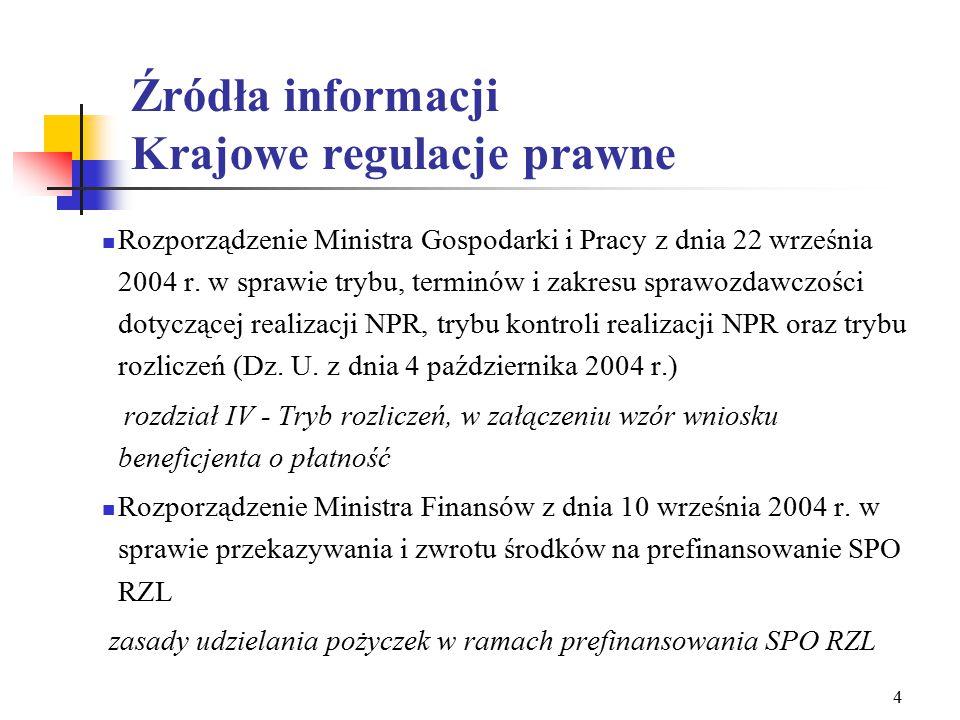 3 Źródła informacji Regulacje prawne - UE Rozporządzenie Parlamentu Europejskiego i Rady nr 1784/1999 w sprawie Europejskiego Funduszu Społecznego Rozporządzenie komisji (WE) nr 448/2004 z dnia 10 marca 2004 r.
