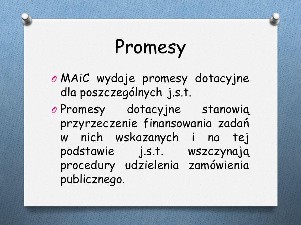 Promesy O MAiC wydaje promesy dotacyjne dla poszczególnych j.s.t.