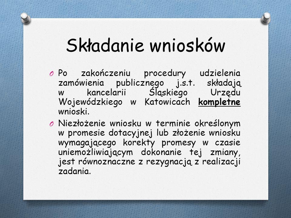 Składanie wniosków O Po zakończeniu procedury udzielenia zamówienia publicznego j.s.t.