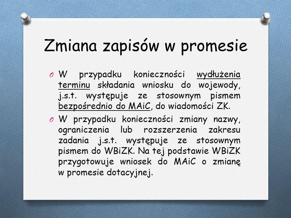 Zmiana zapisów w promesie O W przypadku konieczności wydłużenia terminu składania wniosku do wojewody, j.s.t.