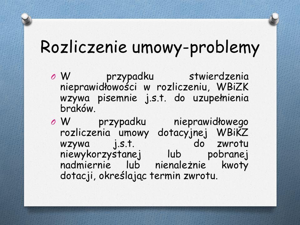 Rozliczenie umowy-problemy O W przypadku stwierdzenia nieprawidłowości w rozliczeniu, WBiZK wzywa pisemnie j.s.t.