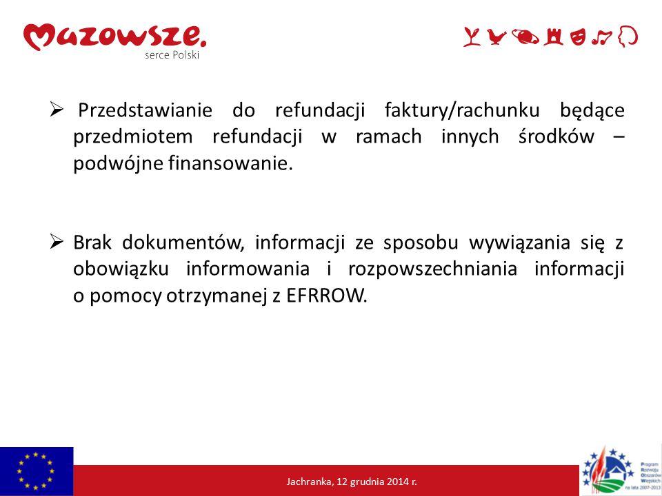  Przedstawianie do refundacji faktury/rachunku będące przedmiotem refundacji w ramach innych środków – podwójne finansowanie.