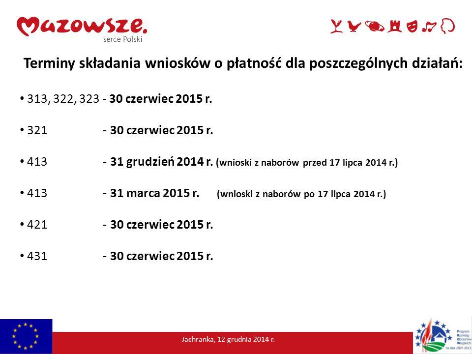 Terminy składania wniosków o płatność dla poszczególnych działań: 313, 322, 323 - 30 czerwiec 2015 r.