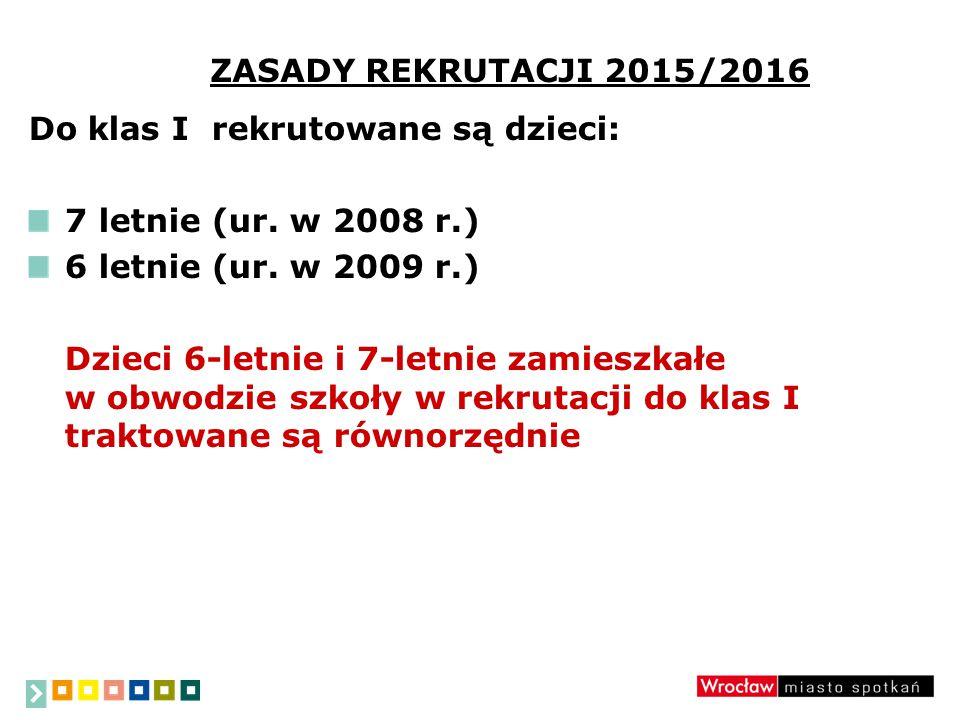 ZASADY REKRUTACJI 2015/2016 Do klas I rekrutowane są dzieci: 7 letnie (ur.