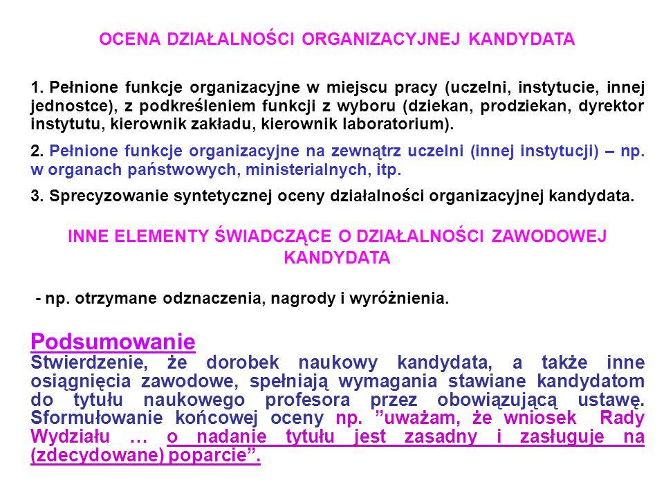 OCENA DZIAŁALNOŚCI ORGANIZACYJNEJ KANDYDATA 1.