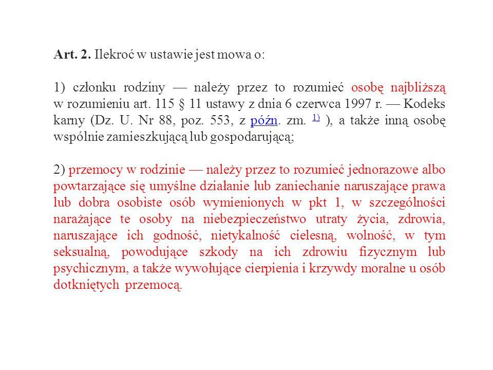 Art. 2. Ilekroć w ustawie jest mowa o: 1) członku rodziny — należy przez to rozumieć osobę najbliższą w rozumieniu art. 115 § 11 ustawy z dnia 6 czerw