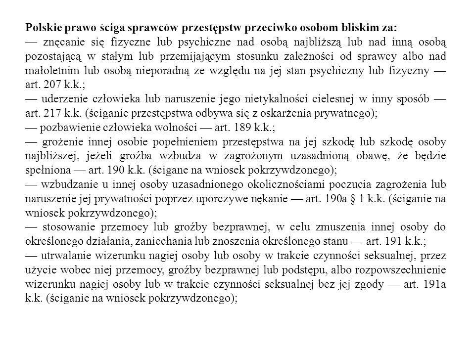 Polskie prawo ściga sprawców przestępstw przeciwko osobom bliskim za: — znęcanie się fizyczne lub psychiczne nad osobą najbliższą lub nad inną osobą p