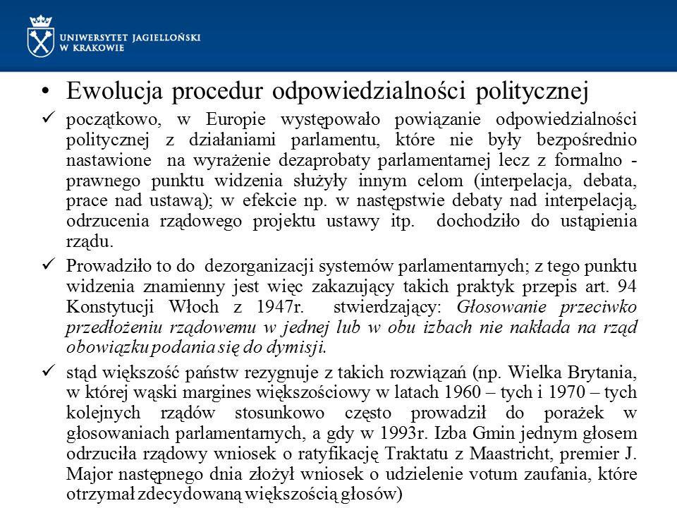 Ewolucja procedur odpowiedzialności politycznej początkowo, w Europie występowało powiązanie odpowiedzialności politycznej z działaniami parlamentu, k