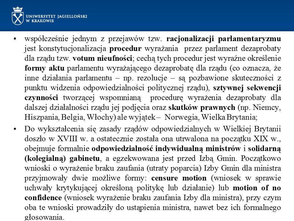 współcześnie jednym z przejawów tzw. racjonalizacji parlamentaryzmu jest konstytucjonalizacja procedur wyrażania przez parlament dezaprobaty dla rządu