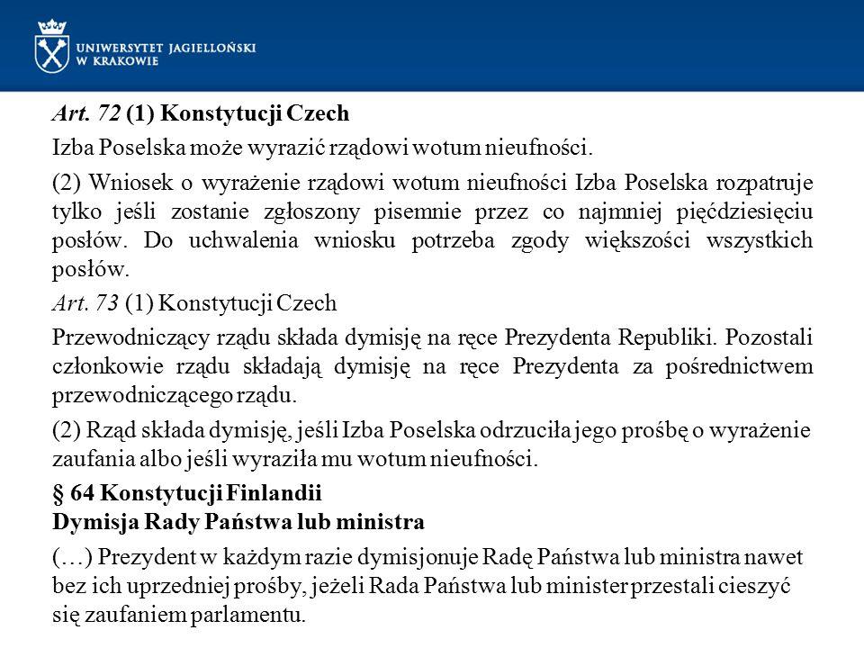 Art. 72 (1) Konstytucji Czech Izba Poselska może wyrazić rządowi wotum nieufności. (2) Wniosek o wyrażenie rządowi wotum nieufności Izba Poselska rozp
