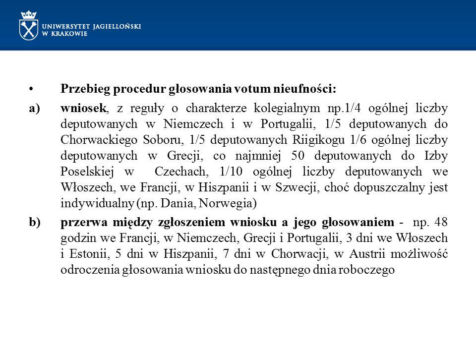 Przebieg procedur głosowania votum nieufności: a)wniosek, z reguły o charakterze kolegialnym np.1/4 ogólnej liczby deputowanych w Niemczech i w Portug
