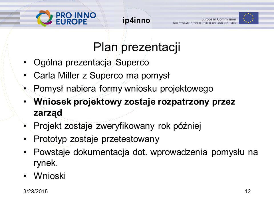 ip4inno 3/28/201512 Plan prezentacji Ogólna prezentacja Superco Carla Miller z Superco ma pomysł Pomysł nabiera formy wniosku projektowego Wniosek projektowy zostaje rozpatrzony przez zarząd Projekt zostaje zweryfikowany rok później Prototyp zostaje przetestowany Powstaje dokumentacja dot.