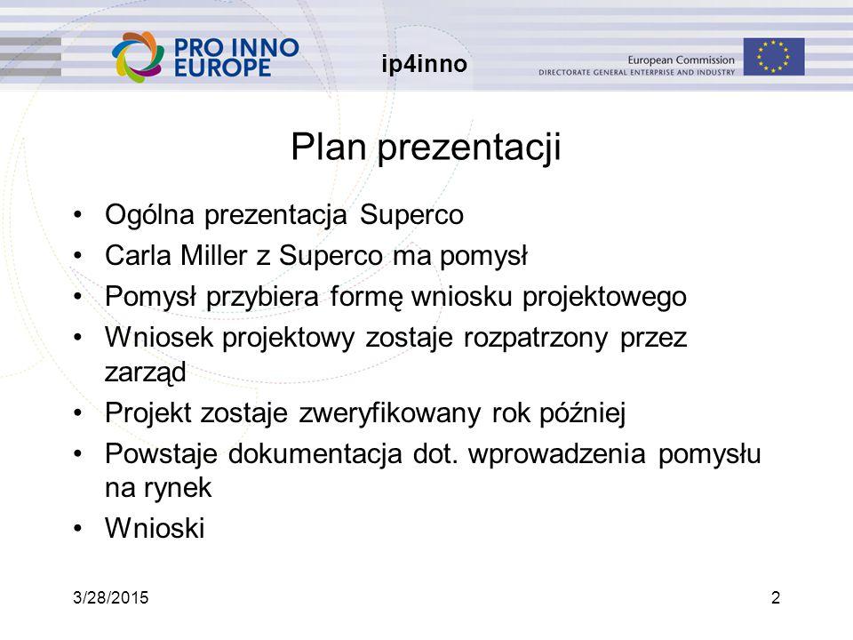 ip4inno 3/28/20152 Plan prezentacji Ogólna prezentacja Superco Carla Miller z Superco ma pomysł Pomysł przybiera formę wniosku projektowego Wniosek projektowy zostaje rozpatrzony przez zarząd Projekt zostaje zweryfikowany rok później Powstaje dokumentacja dot.