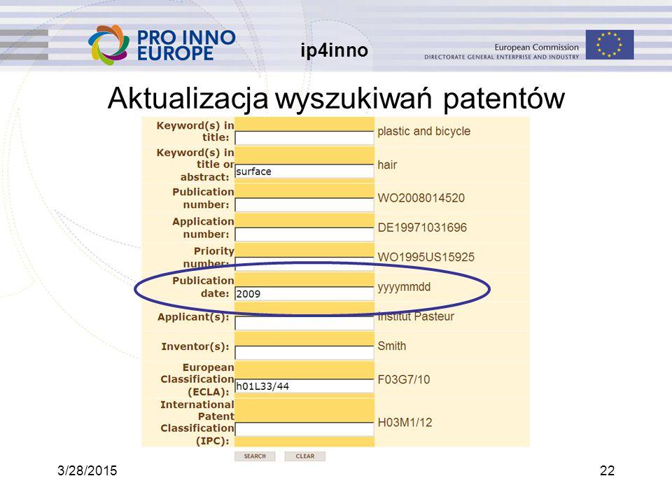 ip4inno 3/28/201522 Aktualizacja wyszukiwań patentów